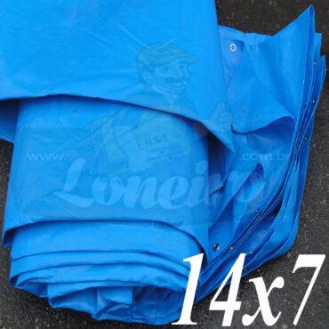 Lona: 14,0 x 7,0m Azul 300 Micras Impermeável para Telhado, Barraca, Cobertura e Proteção Multi-Uso com ilhoses a cada 50cm