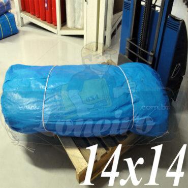 Lona: 14,0 x 14,0m Azul 300 Micras Impermeável para Telhado, Barraca, Cobertura e Proteção Multi-Uso com ilhoses a cada 50cm