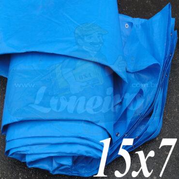 Lona: 15,0 x 7,0m Azul 300 Micras Impermeável para Telhado, Barraca, Cobertura e Proteção Multi-Uso com ilhoses a cada 50cm