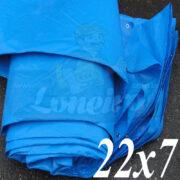 Lona: 22,0 x 7,0m Azul 300 Micras Impermeável para Telhado, Barraca, Cobertura e Proteção Multi-Uso com ilhoses a cada 50cm
