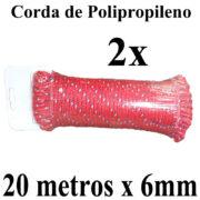 2 Cordas de Polipropileno 20 metros x 6mm Vermelha Multiuso PP Multifilamento Trançada para amarrações em geral