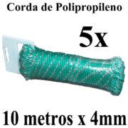 5 Cordas de Polipropileno 10 metros x 4mm Verde Multiuso PP Multifilamento Trançada para amarrações em geral