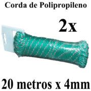 2 Cordas de Polipropileno 20 metros x 4mm Verde Multiuso PP Multifilamento Trançada para amarrações em geral