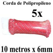 5 Cordas de Polipropileno 10 metros x 6mm Vermelha Multiuso PP Multifilamento Trançada para amarrações em geral