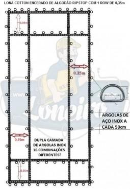 ADICIONAL LONA COM 1 ROW DE  0,35m COTTON ENCERADO DE ALGODÃO RIPSTOP