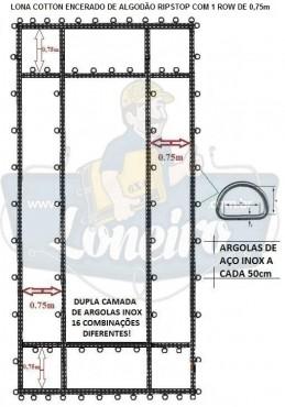 ADICIONAL LONA COM 1 ROW DE  0,75m COTTON ENCERADO DE ALGODÃO RIPSTOP