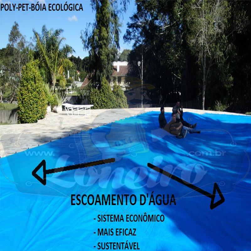 Capa de Piscina: 10,0 x 5,0m Azul 300 Micras + 30 el 20cm , 30 pinos e 3 bóias para escoamento d' água da chuva
