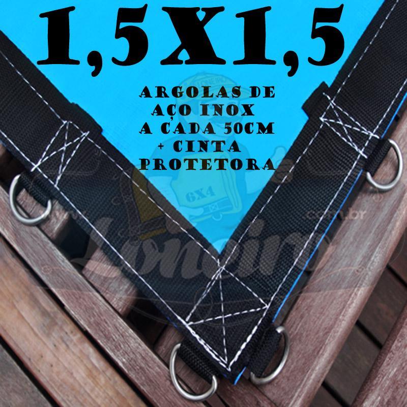 Lona 1,5 x 1,5m Azul 350 Micras com Argolas + 12 Elásticos LonaFlex 30cm + 10 metros Corda 4mm de brinde!