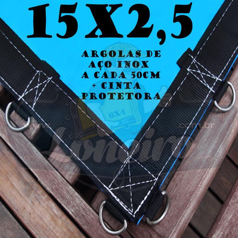 Lona: 15,0 x 2,5m Azul 350 Micras com Argolas a cada 50cm + 40 Elásticos LonaFlex 30cm + 30 metros de Corda 4mm de brinde!