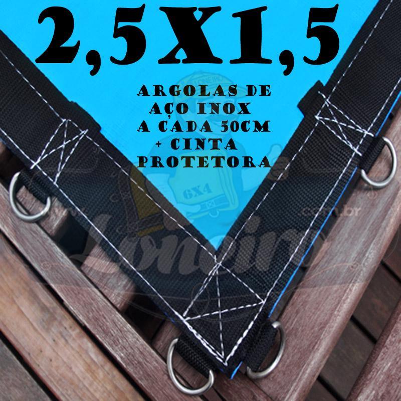 Lona 2,5 x 1,5m Azul 350 Micras com Argolas + 10 metros corda 4mm de brinde!