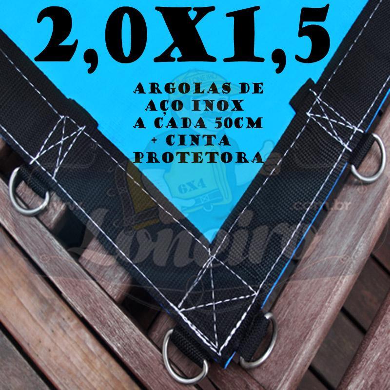Lona 2,0 x 1,5m Azul 350 Micras com Argolas 10 metros Corda 4mm de brinde!