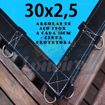 """Lona: 30,0 x 2,5m Azul 350 Micras Impermeável com Argolas """"D"""" INOX a cada 50cm e cinta de reforço"""