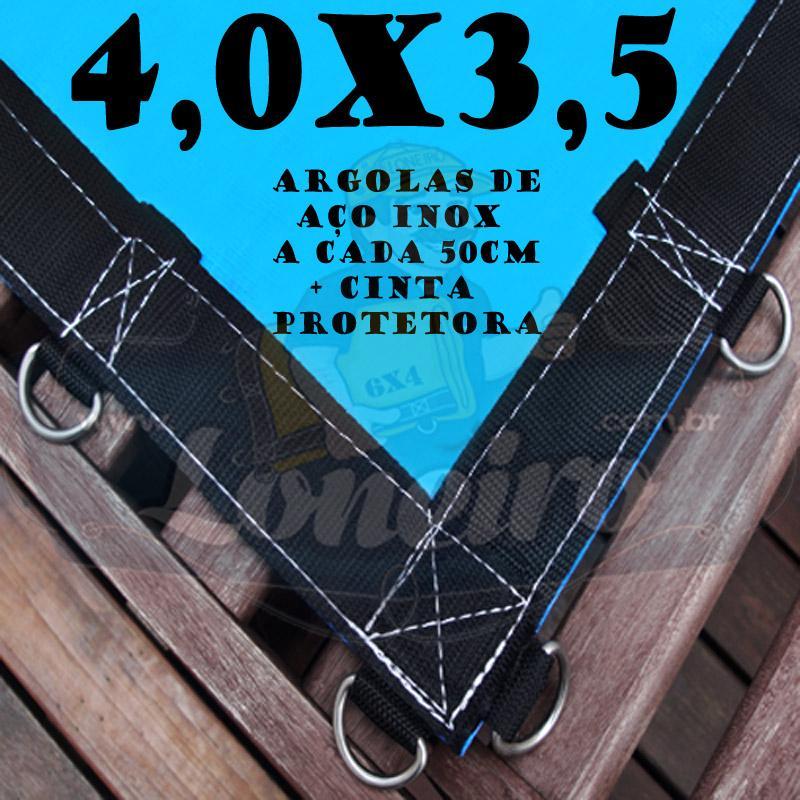 Lona 4,0 x 3,5m Azul 350 Micras com Argolas + 32 Elásticos LonaFlex 30cm + 10 metros corda 4mm de brinde!