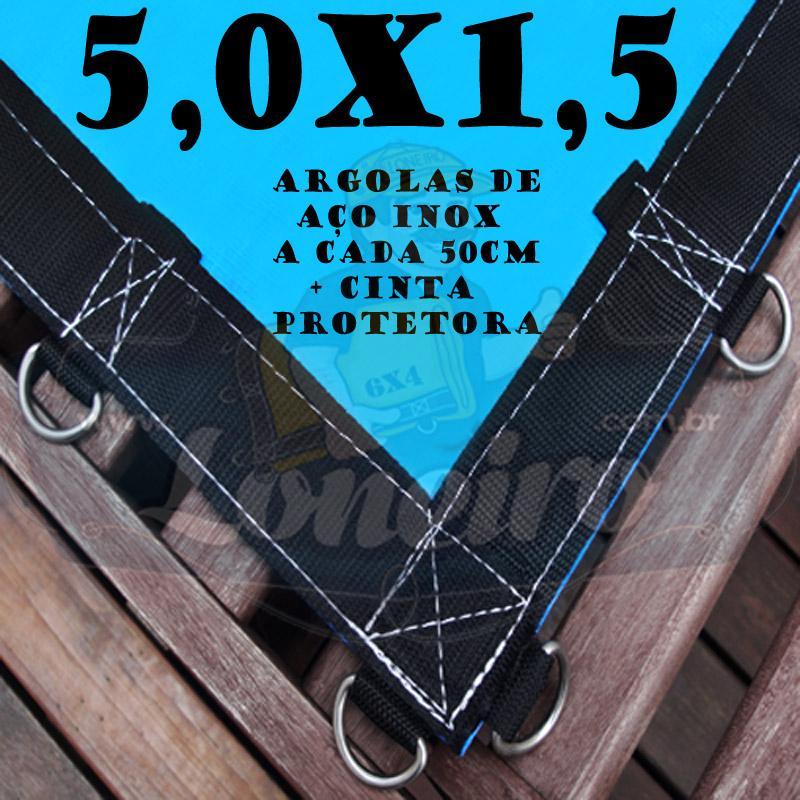 Lona 5,0 x 1,5m Azul 350 Micras com Argolas + 36 Elásticos LonaFlex 30cm + 10metros corda 4mm de brinde!