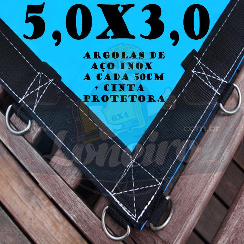 Lona 5,0 x 3,0m Azul 350 Micras com Argolas + 40 Elásticos LonaFlex 30cm + 10 metros corda 4mm de brinde!
