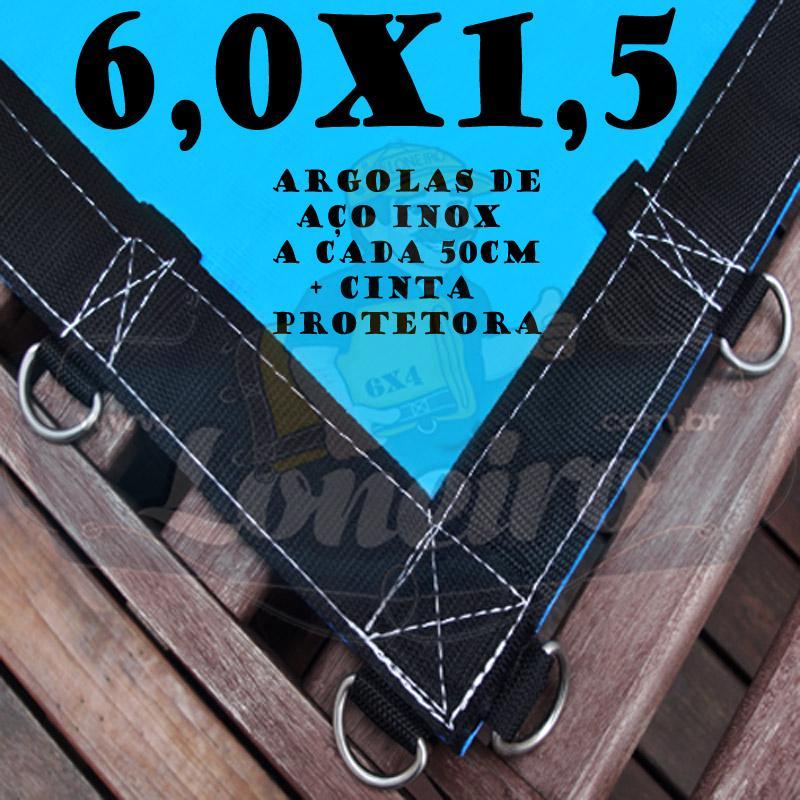 Lona 6,0 x 1,5m Azul 350 Micras com Argolas + 32 Elásticos LonaFlex 30cm + 10m Corda 4mm de brinde!