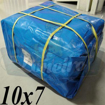 Lona: 10,0 x 7,0m Azul 300 Micras para Telhado, Barraca, Cobertura e Proteção Multi-Uso + 34 Elásticos LonaFlex 30cm