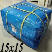 Lona: 15,0 x 15,0m Azul 300 Micras para Telhado, Barraca, Cobertura e Proteção Multi-Uso + 60 Elásticos LonaFlex 30cm