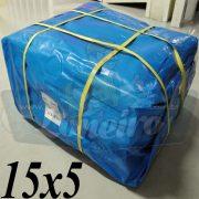 Lona: 15,0 x 5,0m Azul 300 Micras para Telhado, Barraca, Cobertura e Proteção Multi-Uso + 40 Elásticos LonaFlex 30cm