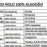 BOBINA ENCERADO ALGODÃO ESPECIFICAÇÃO