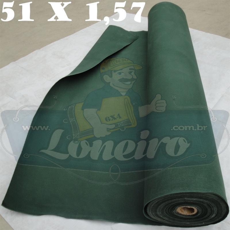 Bobina Encerado Verde Escuro Lona 08 Algodão 51,0 x 1,57m  = 80m² Tecido Impermeável