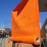 Tecido Lona de Vinil Laranja 15x1,57 Metros PVC Rolo Impermeável Malha Fio 1000 Super Resistente para toldos, tatames, ringues, coberturas