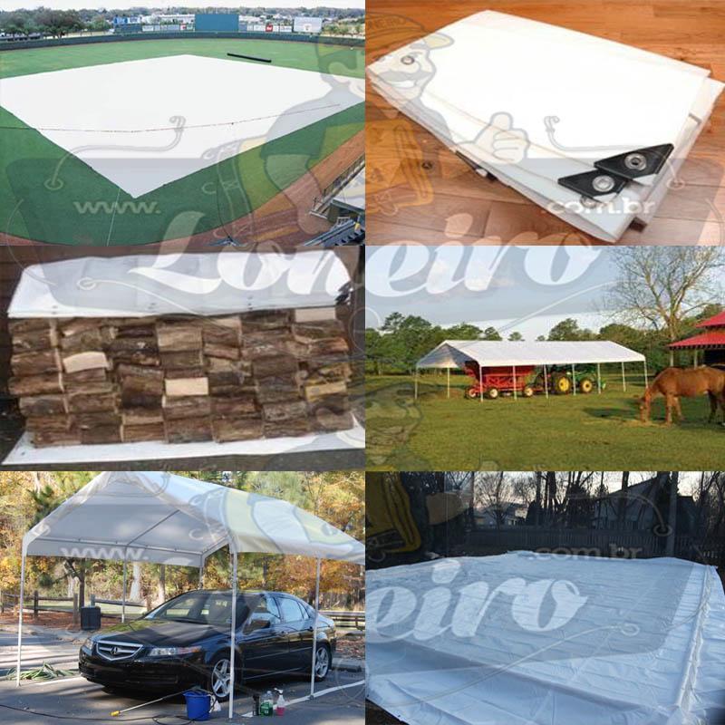 Lona: 10,0 x 4,0m Plástica Branca 300 Micras com ilhoses a cada 50cm para Telhado Barraca Cobertura e Proteção Multi Uso + 38 Elásticos LonaFlex 20cm