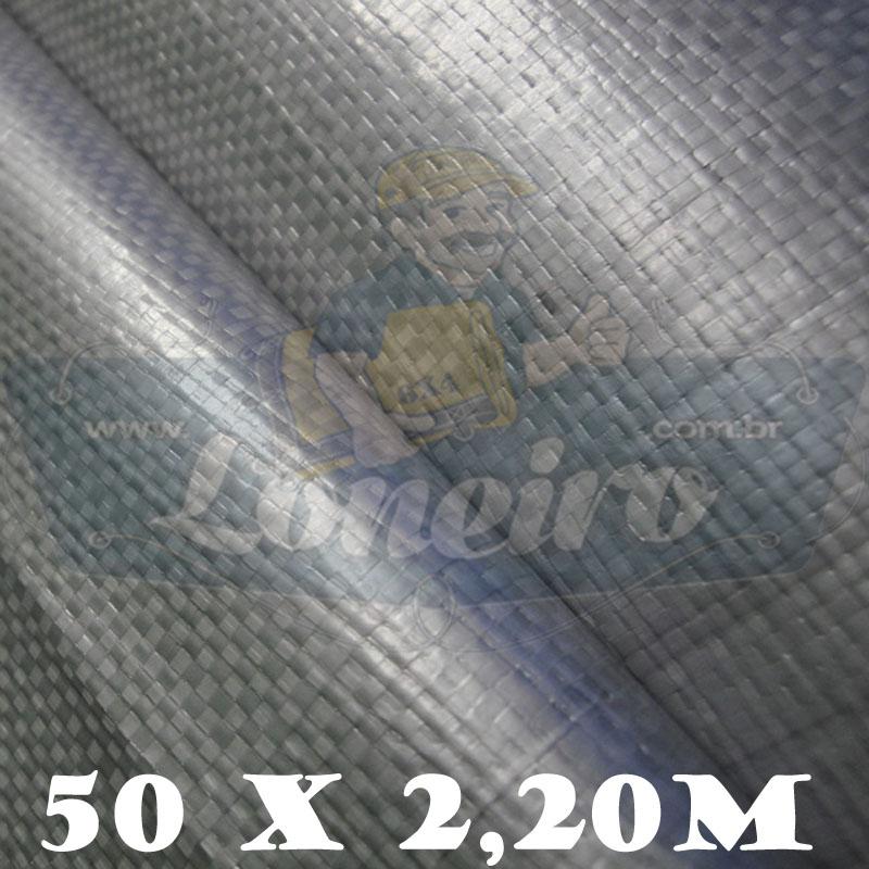 Bobina Plástica Prata de Polietileno 50,0 x 2,20m = 110m²