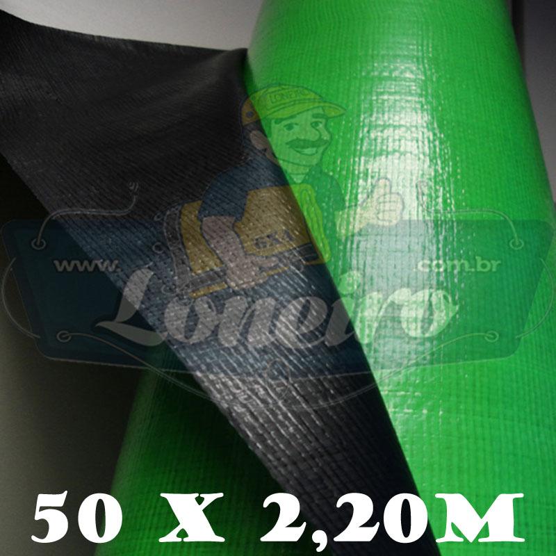 Bobina Plástica Preto Fosco / Verde Limão Polietileno 50,0 x 2,20m = 110m²