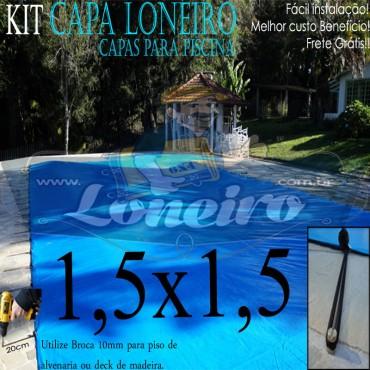 Capa de Piscina 1,5 x 1,5m Azul 350 Micras + 8 el 20cm e 8 pino bucha latão