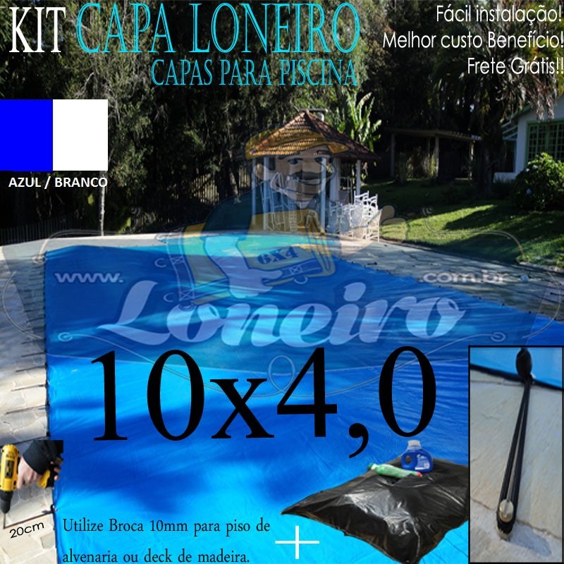 Capa de Piscina: 10,0 x 4,0m Azul Branco 250 Micras + 30 el 20cm , 30 pinos e 3 bóias para escoamento d' água da chuva