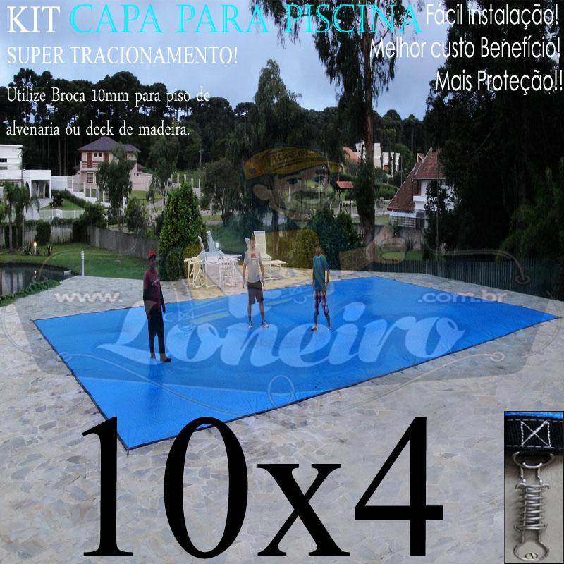 Capa para Piscina Super: 10,0 x 4,0m PP/PE Azul-Preto Lona Térmica de Cobertura +72m+72p+5b