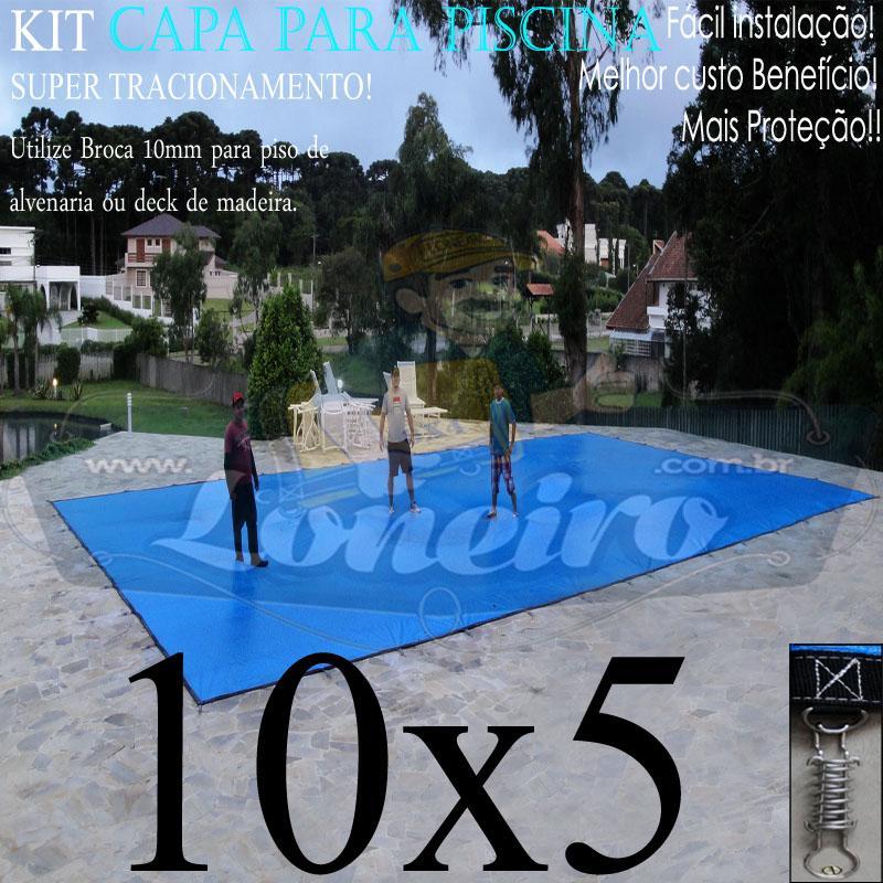 Capa para Piscina Super: 10,0 x 5,0m PE/PE Azul - Cinza Lona Térmica Proteção Premium +76m+76p+5b