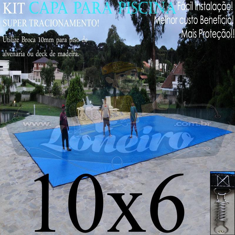 Capa para Piscina Super: 10,0 x 6,0m Azul/Cinza PP/PE Lona Térmica Premium Proteção Segurança para Crianças Animais Pessoas +64m+64p+5b
