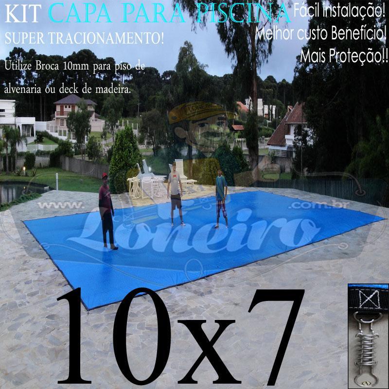 Capa para Piscina Super: 10,0 x 7,0m PP/PE Azul - Cinza Lona Térmica de Cobertura +84m+84p+5b