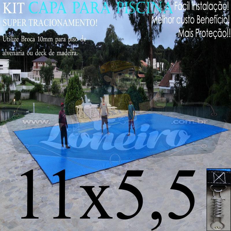 Capa para Piscina Super: 11,0 x 5,5m PE/PE Azul - Cinza Lona Térmica Cobertura Premium +82m+82p+5b