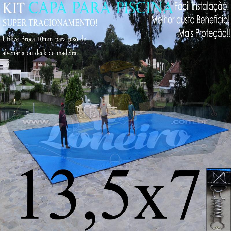 Capa para Piscina Super: 13,5 x 7,0m PP/PE Azul/Cinza Lona Térmica de Cobertura e Segurança +82m+82p+6b