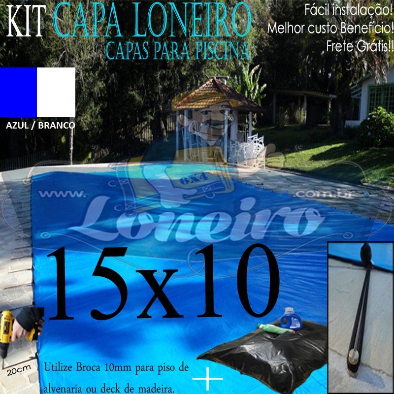 Capa de Piscina: 15,0 x 10,0m Azul Branco 250 Micras + 50 el 20cm , 50 pinos e 6 bóias para escoamento d