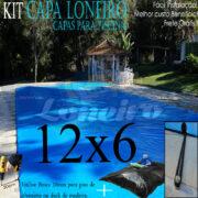 Capa de Piscina: 12,0 x 6,0m Azul 300 Micras + 36el 20cm , 36 pinos e 6 bóias para escoamento d