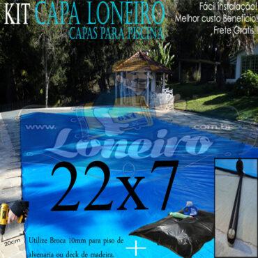 Capa de Piscina: 22,0 x 7,0m Azul 300 Micras + 60 el 20cm , 60 pinos e 10 bóias para escoamento d' água da chuva