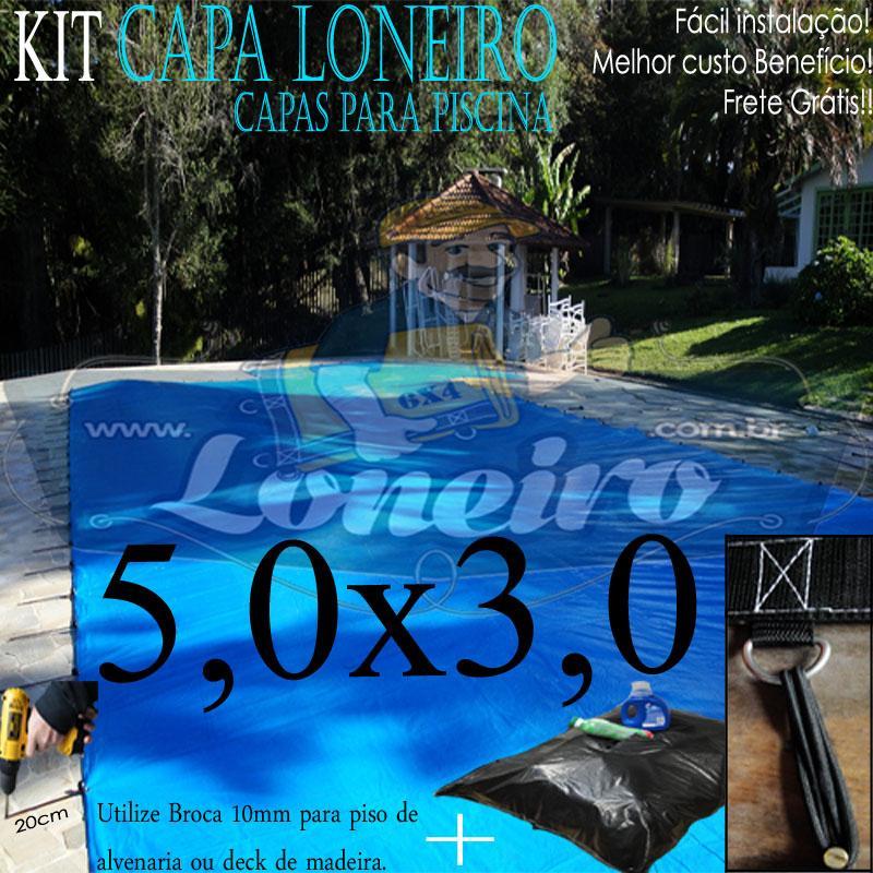 Capa de Piscina 5,0 x 3,0m Azul 300 Micras + 16 el 20cm , 16 pinos e 1 bóia para escoamento d' água da chuva
