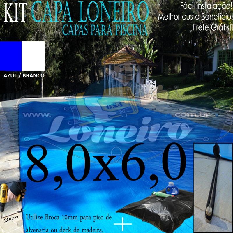 Capa de Piscina 8,0 x 6,0m Azul Branco 250 Micras + 32 el 20cm , 32 pinos e 2 bóias para escoamento d' água da chuva