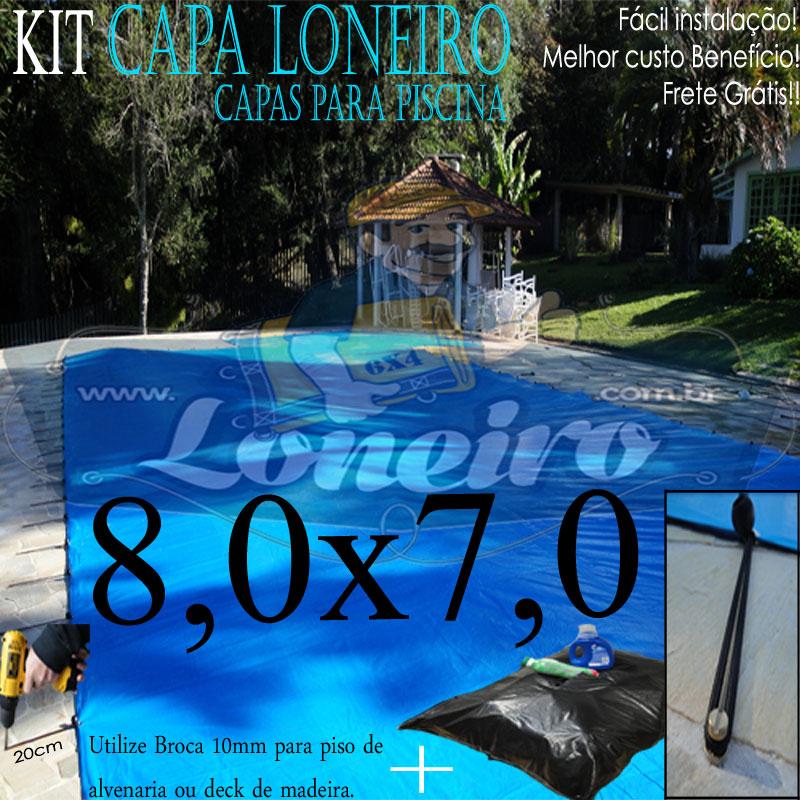 Capa de Piscina 8,0 x 7,0m Azul 300 Micras + 32 el 20cm , 32 pinos e 3 bóias para escoamento d' água da chuva