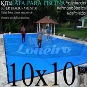 CAPA PARA PINSCINA 10x10 LONEIRO LONAS AMÉRICA ENCERADOS IMPERMEÁVEL SEM TOXINAS ATÓXICA DE SEGURANÇA E PROTEÇÃO 500 MICRAS SUPORTA ATÉ 300KG DE PESO