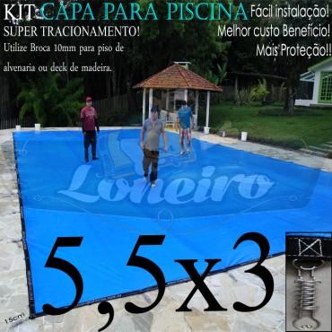 Capa para Piscina Super 5,5 x 3,0m Azul/Cinza PP/PE Lona Térmica Premium +50m+50p+1b