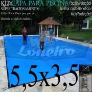 Capa para Piscina Super 5,5 x 3,5m Azul/Cinza PP/PE Lona Térmica Premium +52m+52p+1b