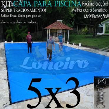 Capa para Piscina Super 5,0 x 3,0m Azul/Cinza PP/PE Lona Térmica Premium +48m+48p+1b