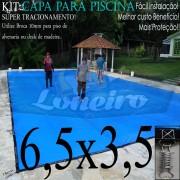 Capa para Piscina Super 6,5 x 3,5m Azul/Cinza PP/PE Lona Térmica e de Segurança Premium +40m+40p+3b