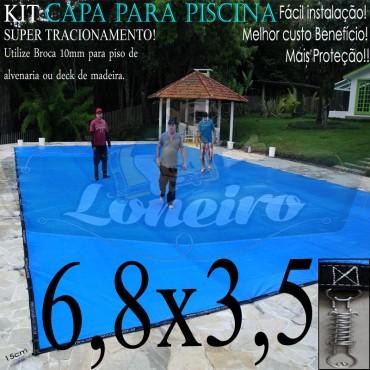 Capa para Piscina Super 6,8 x 3,5m Azul/Cinza PP/PE Lona Térmica Premium +58m+58p+3b