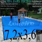 Capa para Piscina Super 7,2 x 3,6m Azul/Cinza PP/PE Lona Térmica Premium +60m+60p+3b
